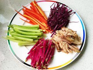快手营养早餐09,手撕鸡腿肉,将处理好的食材摆盘;