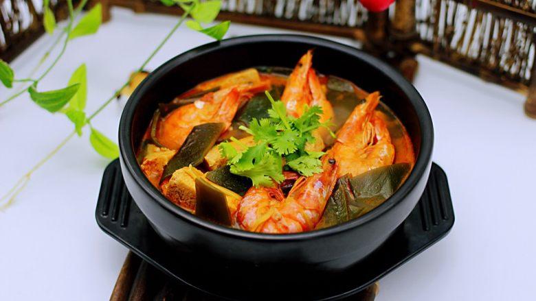 海带冻豆腐炖海虾
