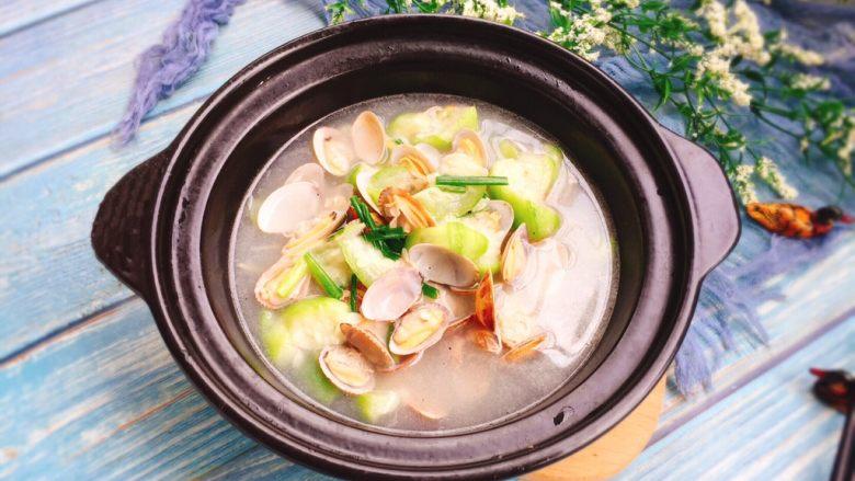 夏天必喝-丝瓜花蛤汤