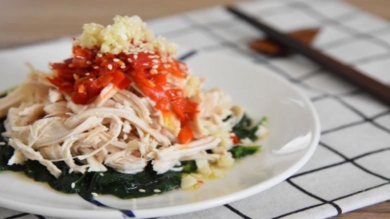 鸡丝拌菠菜—快手凉拌菜,清爽开胃,夏天吃再合适不过了
