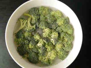 焗西兰花,煮锅里倒入适量清水,调入适量盐、几滴植物油烧开;