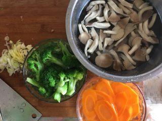 西兰花炒胡萝卜片,切好葱姜蒜末备用,胡萝卜片、西兰花焯水,蘑菇开水烫一下