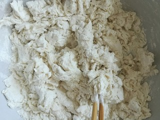 豆腐粉条蒸包,用温水和成面絮