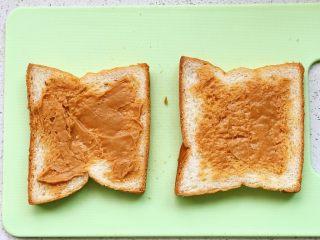 快手营养早餐17,吐司片抹花生酱;