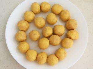 宝宝健康食谱  黄金小窝头,做成大小均等,直径3㎝的小面团