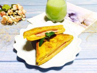 营养早餐+芝士火腿西多士