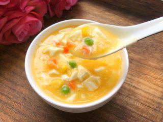 咸蛋黄豆腐羹,滑滑嫩嫩的豆腐