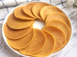 健康粗粮小点心:蜂蜜玉米面饼,如此煎好所有饼。  其实此时玉米饼已被我家小孩偷吃4个了。