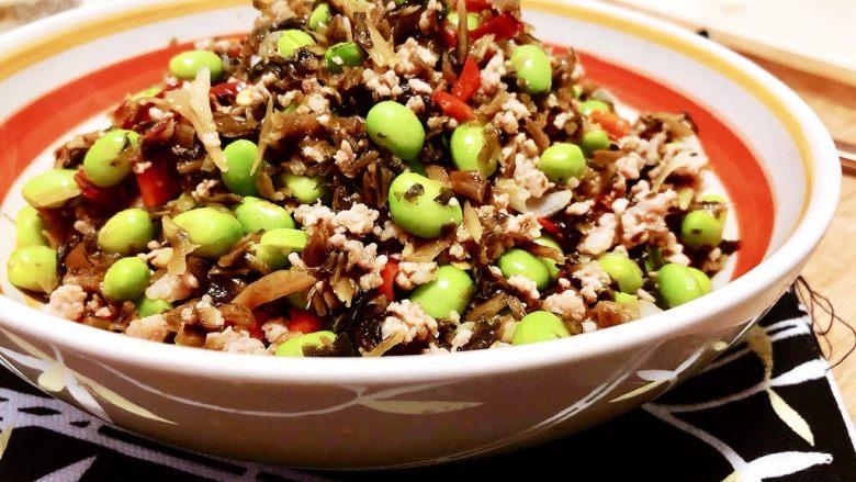 夏日惹味小菜系列➕雪菜肉末炒毛豆,成品