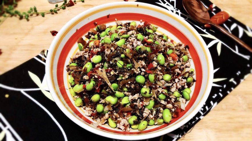 夏日惹味小菜系列➕雪菜肉末炒毛豆