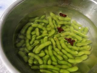 夏日爽品凉拌毛豆,将煮好的毛豆捞出沥水后迅速放入冰水中浸凉,捞出控水备用