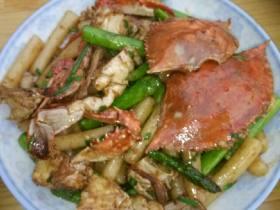 芦笋梭子蟹炒年糕