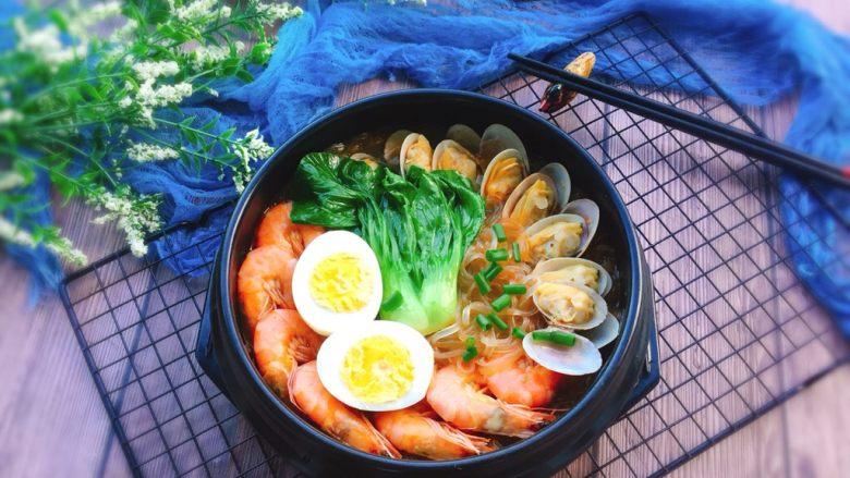 鲜味十足+海鲜红薯粉丝煲