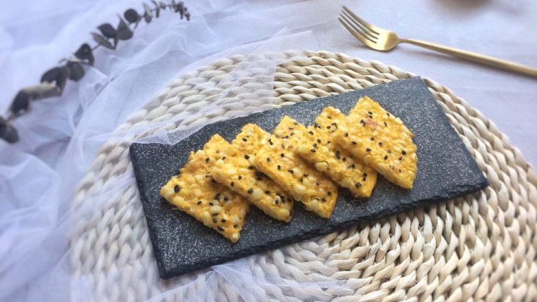 快手营养早餐:芝士甜玉米鸡蛋饼,成品图。