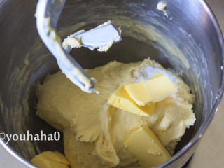 汤种牛奶吐司,先用厨师机的慢速将面粉混合成团,再用中速搅打十分钟左右,放入软化的黄油和盐继续搅打。