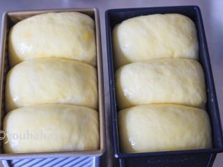 汤种牛奶吐司,吐司模具放入烤箱中,烤箱里放一碗热水,进行二发,此时不开烤箱。面团发酵至9分钟满时,取出模具,烤箱开始预热,面团表面刷蛋液。