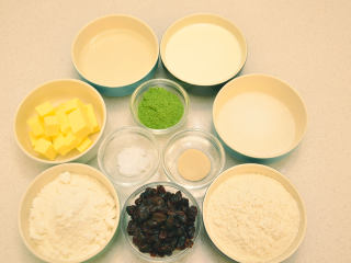 抹茶奶酪軟歐包,準備好所用的材料。