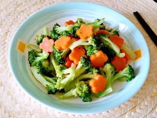 西兰花炒胡萝卜,成品。