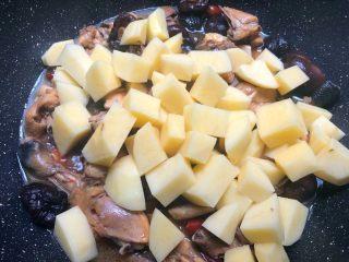 香菇土豆炖鸡块,炖好放入土豆翻炒均匀,继续再炖12分钟