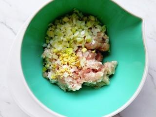 肉龙,加入切碎的大葱和生姜,稍微搅拌一下