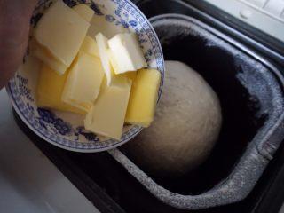 豆沙环形面包,待面团搅拌均匀(大概10分钟后)加入切小块的黄油