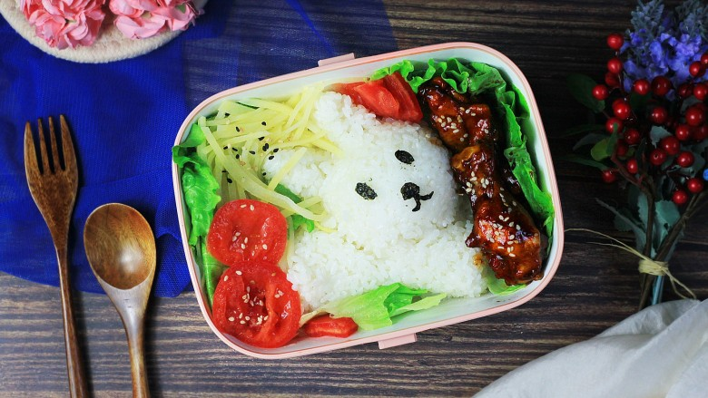 可爱兔兔便当盒,美味就完成啦!