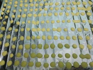 蛋黄溶豆,开始挤豆豆,一个一个隔开,不要挨一起。