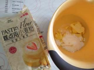 大吉大利,晚上吃鸡--吃鸡小蛋糕,先做酥粒!将冷冻状态下的黄油,金龙鱼糕点用小麦粉,糖粉混合,用手用力搓,搓成粗粒状,然后放冰箱冷冻