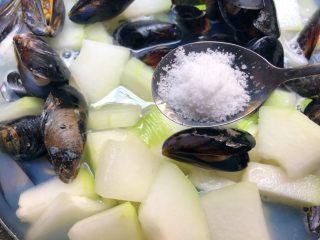 淡菜冬瓜汤,放入2g盐搅拌均匀,盖上盖子继续煮至冬瓜熟透