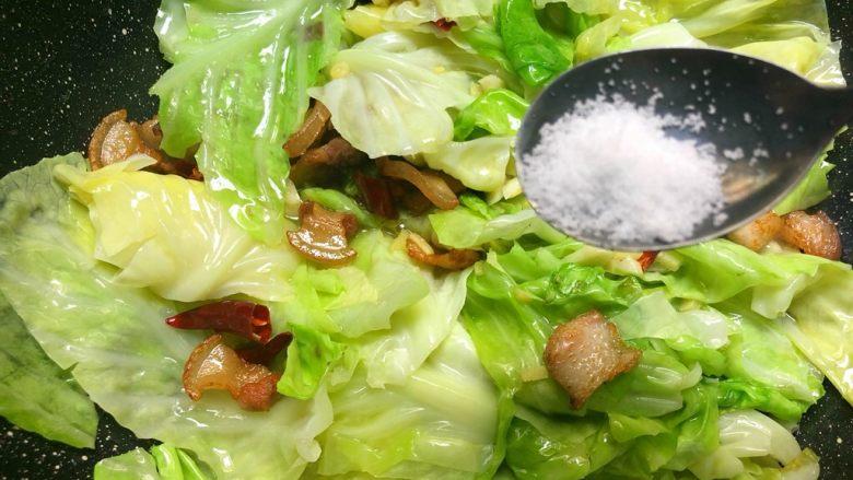 干锅包菜,放入1g盐