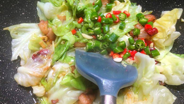 干锅包菜,放入青辣椒和小米椒