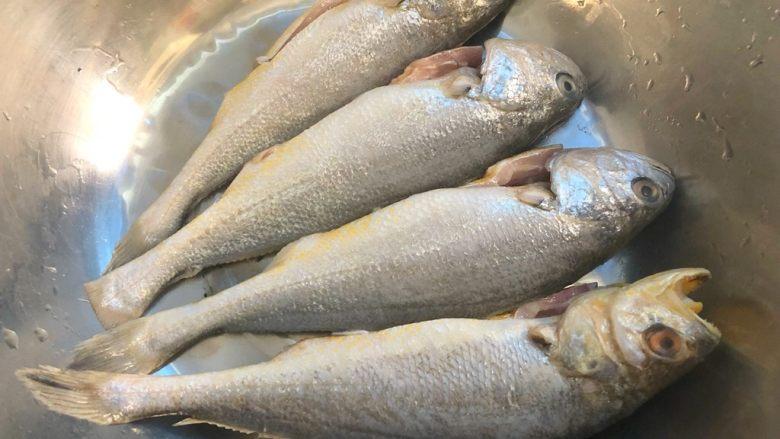 煎小黄鱼,小黄鱼去掉内脏和鱼鳃,清洗干净,放入盆里