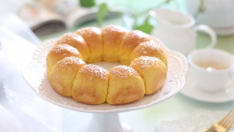 【新手面包】南瓜花环面包,无需整形也可以做漂亮的面包