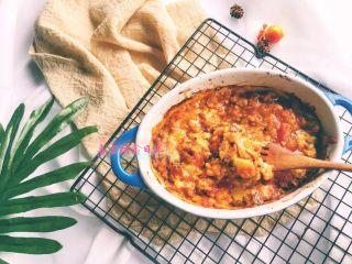 宝宝辅食11M➕:藜麦番茄虾仁焗饭,成品图