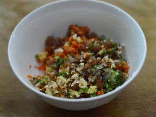 尖椒香菇酿肉,将全部材料放入碗中