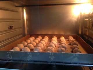 花生椰蓉球, 入烤箱中下层,170度,上下火、13-15分钟左右,表面微微泛黄即可