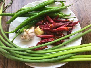 香辣鱿鱼须,蒜苔150g,干辣椒40g,青辣椒6个,蒜头30g,生姜20g