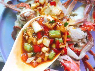 家常菜+葱油梭子蟹,均匀淋入盘中