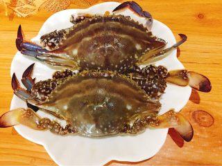 家常菜+葱油梭子蟹,梭子蟹两只