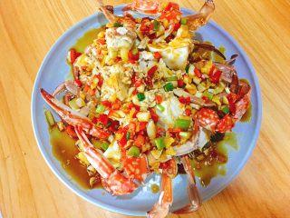 家常菜+葱油梭子蟹,一定要均匀淋入