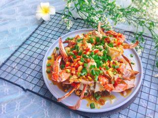 家常菜+葱油梭子蟹,成品图