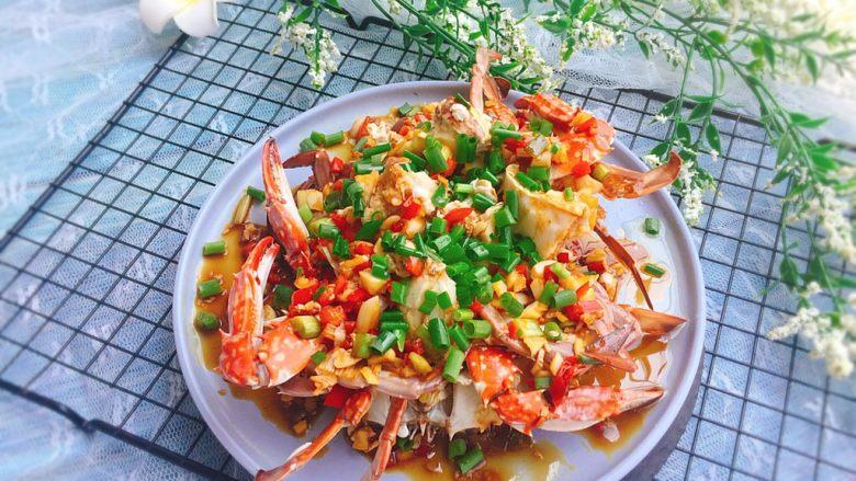 家常菜+葱油梭子蟹