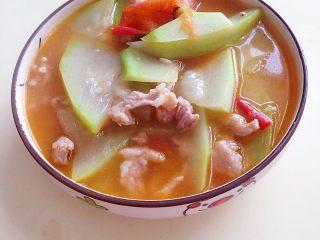 葫芦瓜番茄肉片汤,成品2