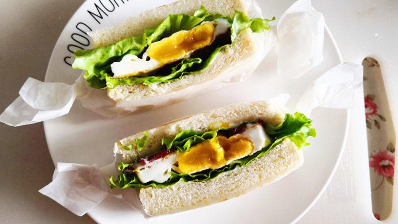 三明治,切开食用更方便,