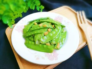 金蒜荷兰豆,出锅盛盘