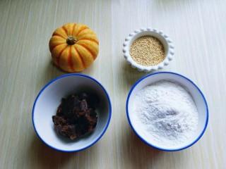 黄金南瓜芝麻球,准备食材:糯米粉,豆沙馅,有机小南瓜,白芝麻。