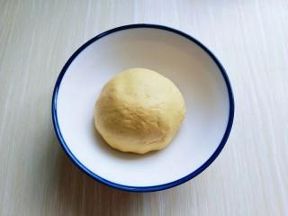黄金南瓜芝麻球,盖上保鲜膜,松弛10分钟。