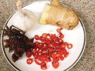 凉拌酸辣毛豆,葱姜蒜适量,小米椒切碎,蒜和姜切片,备用。 把毛豆放水里泡十分钟洗净,放入锅里,装入淹过毛豆的水量,加入切好的葱姜蒜,八角,开大火煮十分钟,注意,要开盖子煮,防止毛豆闷黄。