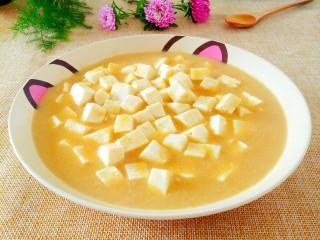 蟹黄豆腐,做好的蟹黄豆腐