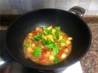 山药烧肉,放入青椒翻炒30秒即可出锅。